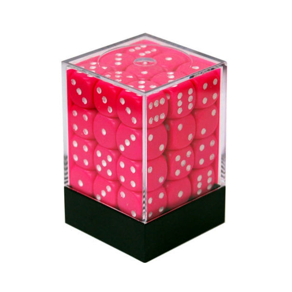 Opaque 12mm D6 Pink w/ White Pips 36pk  ||  Chessex Dice