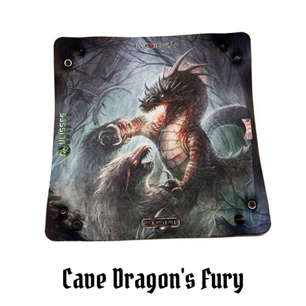 All Rolled Up UK - Cave Dragon's Fury - Square Dice Tray 1pc (Neoprene) - laid flat