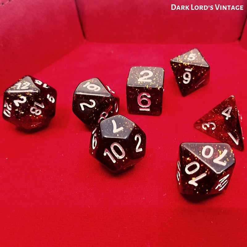 D&D Dice Sets - Dice Hub - Dark Lord's Vintage - Standard 7-Die Set