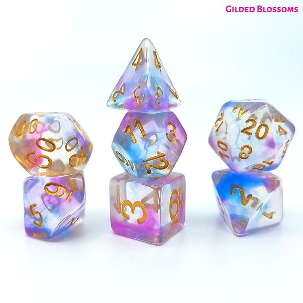 DnD Dice - Dice Hub- Gilded Blossoms - Standard 7-Die Set