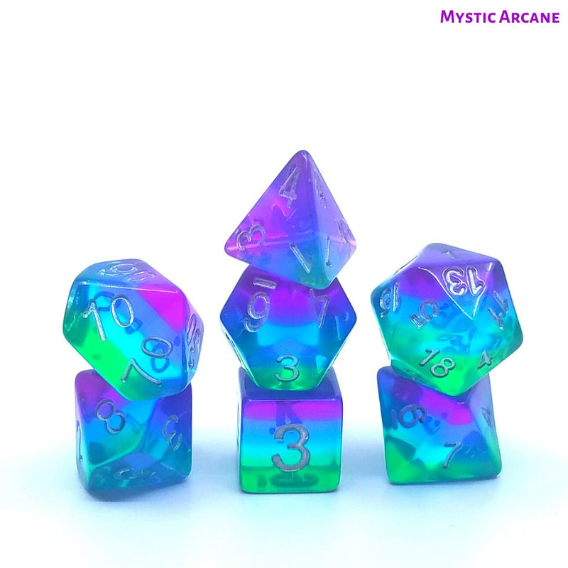 D&D Dice Set - Mystic Arcane - Green, Blue & Purple Layered Dice