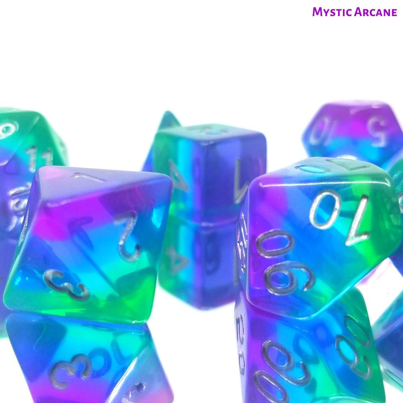 D&D Dice Sets - Mystic Arcane - Green, Blue & Purple Layers