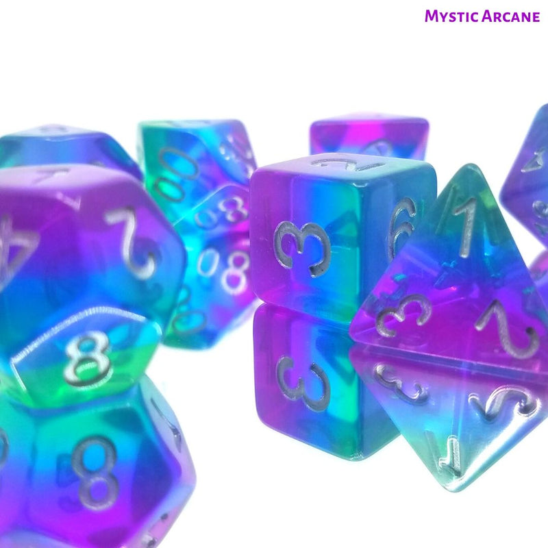 Dungeons and Dragons Dice - Mystic Arcane - Green, Blue & Purple Layered Dice