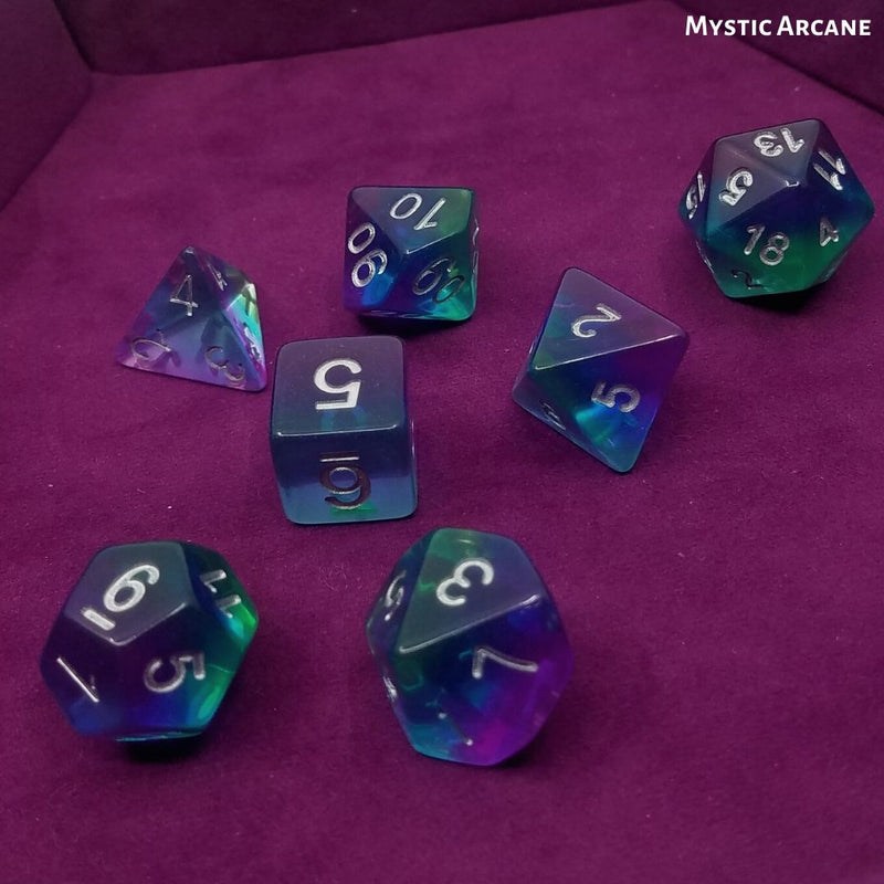Dice for Dungeons and Dragons - Mystic Arcane - Green, Blue & Purple Dice displayed on a Purple Dice Tray