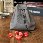 Dice Bags - Level Bedded Gargoyle (Grey) - Leather Dice Bag