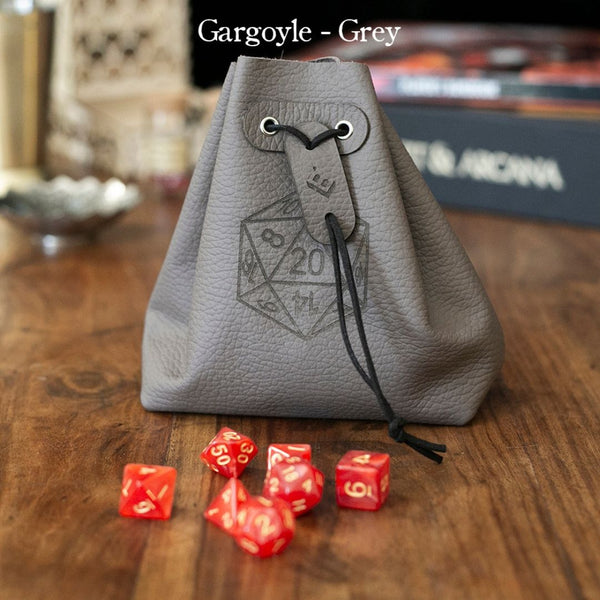 Level Bedded Gargoyle (Grey) - Leather Dice Bag