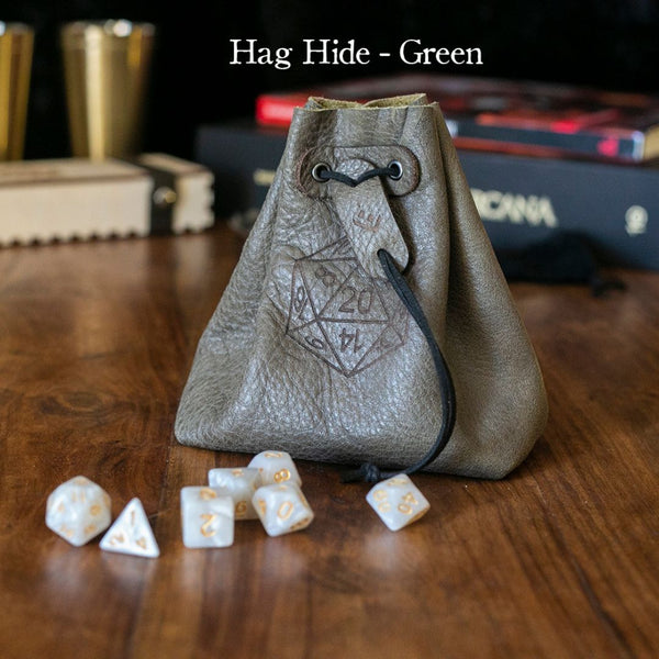Dice Bags - Level Bedded Hag Hide (Green) - Leather Dice Bag