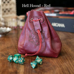 Dice Bag - Level Bedded Hell Hound Pelt (Red) - Leather Dice Bag
