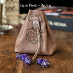 Level Bedded Ogre Flesh (Brown) - Leather Dice Bag