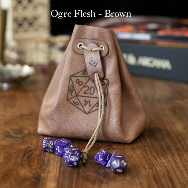 Dice Bags - Level Bedded Ogre Flesh (Brown) - Leather Dice Bag