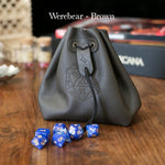Dice Bags - Level Bedded Werebear (Brown) - Leather Dice Bag