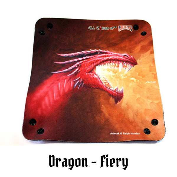 All Rolled Up UK - Fiery Red Dragon - Square Dice Tray 1pc (Neoprene) - Laid flat