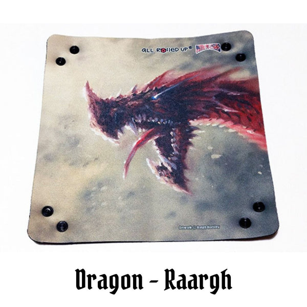 All Rolled Up UK - RAARGH! Ferocious Red Dragon - Square Dice Tray 1pc (Neoprene) - laid flat