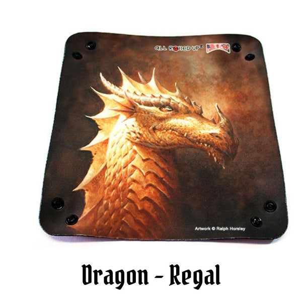All Rolled Up UK - Regal, Gold Dragon - Square Dice Tray 1pc - laid flat