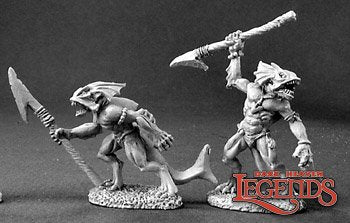 Reaper metal mini - sahuagin with spars - d&d australia