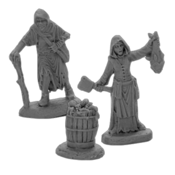 Reaper Miniatures - Townsfolk Fishwife, Crone & Barrel - Unpainted