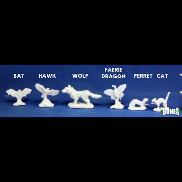 Reaper Miniatures - Familiars - Bat, Hawk, Wolf, Faerie Dragon, Ferret & Cat