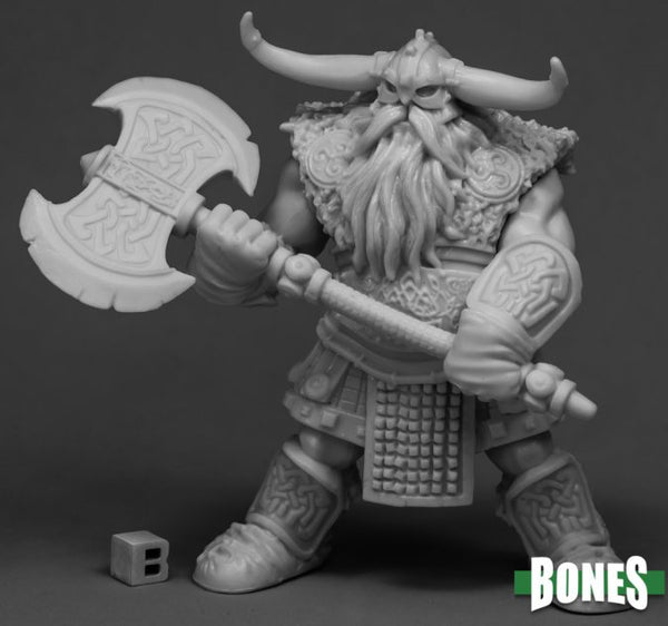 Male Frost Giant Bodyguard with Two Handed Axe - Unpainted, Plastic Miniature - D&D Size Huge