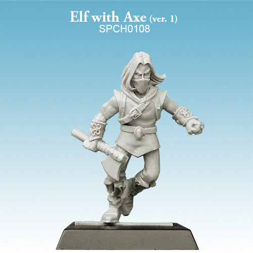 Spellcrow Elf Running with Axe - unpainted