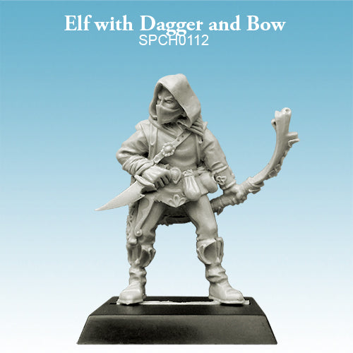 Spellcrow Elf with Bow - Ranger Bandit Rogue - unpainted