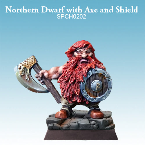 Spellcrow Dwarf Barbarian Axe & Shield painted