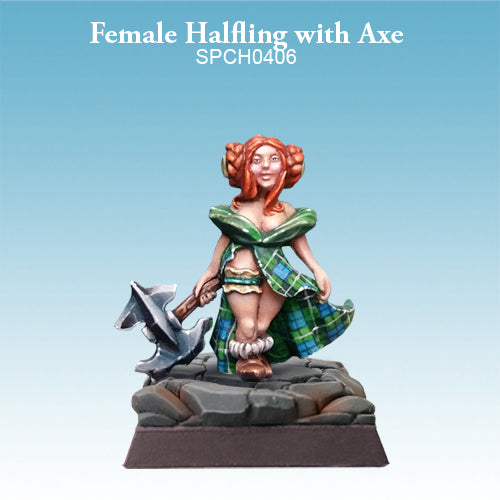 Spellcrow Female Halfling Barbarian Highlander - painted