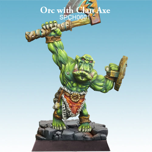 Spellcrow Male Orc Barbarian Axe & Shield painted