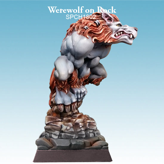 Spellcrow Werewolf on Rock 1pk - Painted Resin Miniature