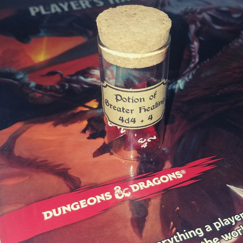 DnD Dice - Potion of Greater Healing (Single Vial) - Vial shown