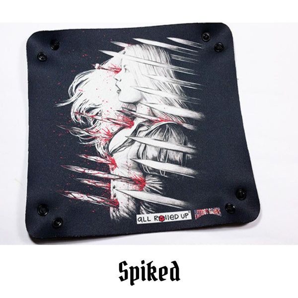 All Rolled Up UK - Spiked - Square Dice Tray 1pc - laid out flat