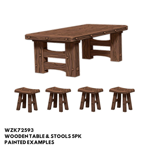 Pathfinder Miniatures - Wooden Tables & Stools - Painted