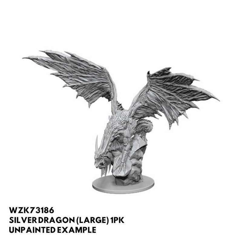 large silver dragon miniature - unpainted pathfinder deep cuts