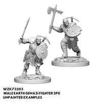 Pathfinder Minis - Male Earth Genasi Fighter - Unpainted
