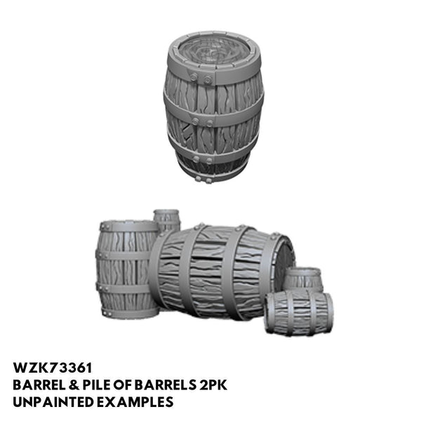 Wizkids #73361 Pile of Barrels + Barrel with Removable Lid 2pk - Unpainted Examples