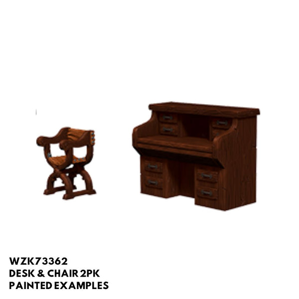 Pathfinder Miniatures - Desk & Chair - Painted