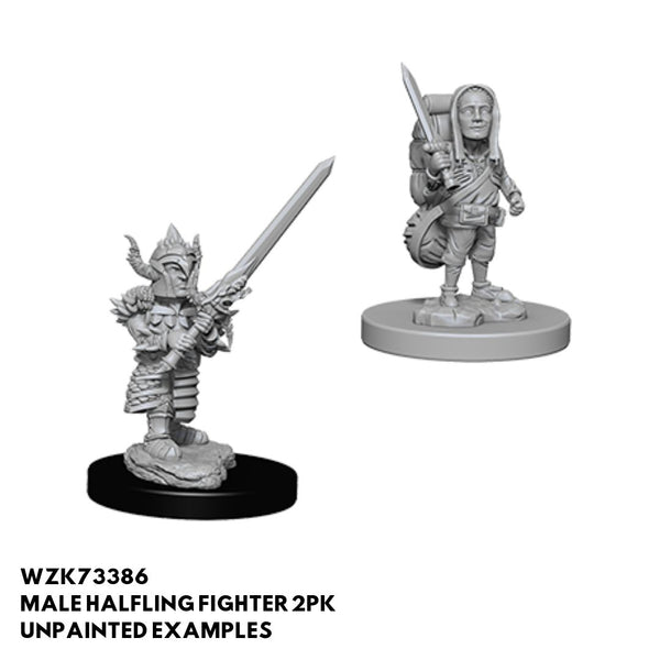 Wizkids #73386 Male Halfling Fighter w/ Sword 2pk - Unpainted Examples