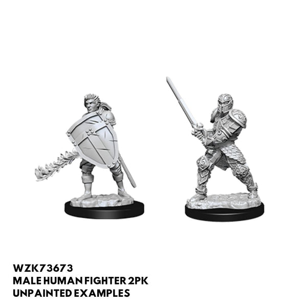 Male Human Fighter 2pk  ||  D&D Nolzur's Marvelous Unpainted Miniatures