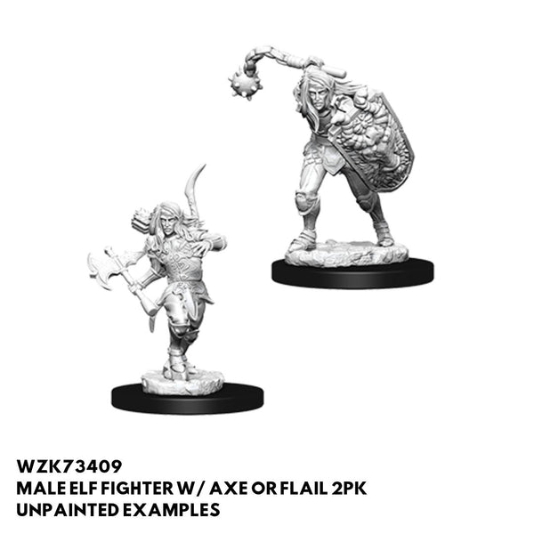 Wizkids #73409 Male Elf Fighter w/ Axe or Flail 2pk - Unpainted Minis