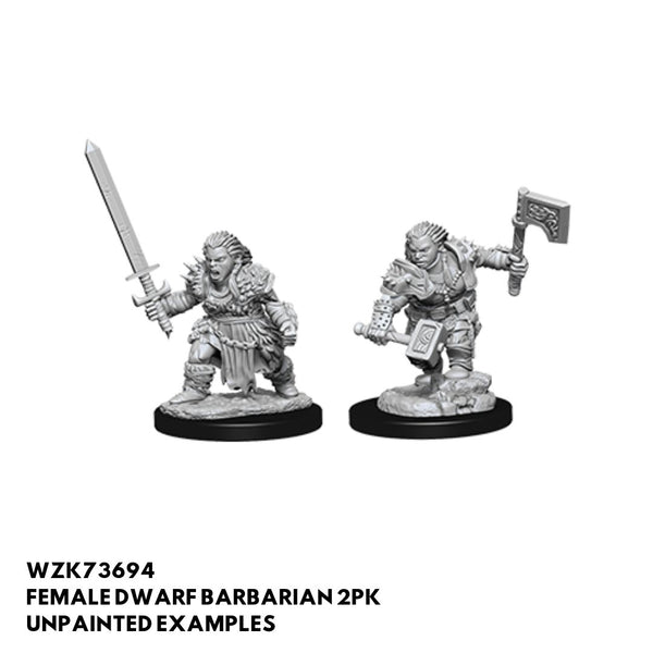 Female Dwarf Barbarian 2pk  ||  Pathfinder: Deep Cuts Unpainted Miniatures