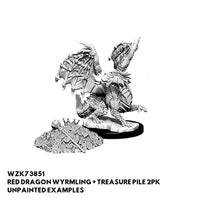 Nolzurs D&D Minis - Red Dragon Wyrmling & Treasure Pile - Unpainted Examples