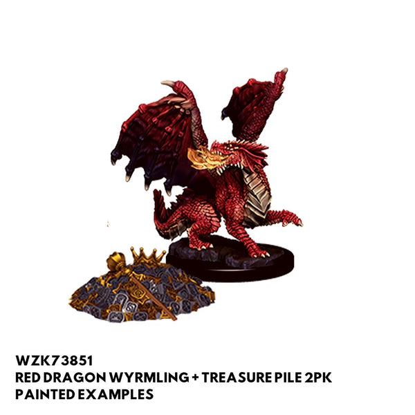 Wizkids D&D Minis - Red Dragon Wyrmling & Treasure Pile - Painted Examples