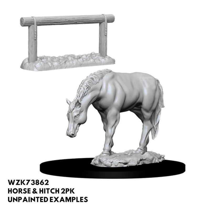 dnd miniatures - horse with hitching post minis