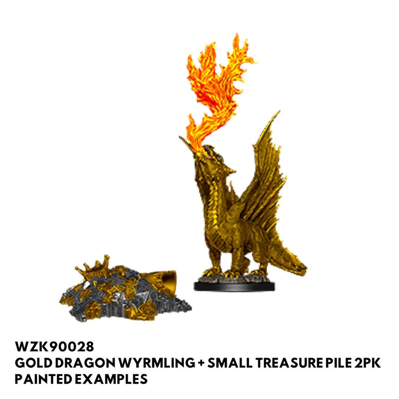 gold dragon wyrmling with treasure pile - dnd mini