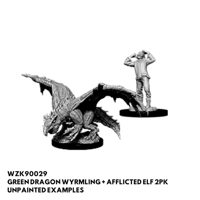 green dragon wyrmling with elf - dnd miniature