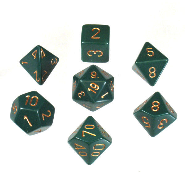 Opaque Dusty Green w/ Copper Numbering 7-Die Set  ||  Chessex Dice