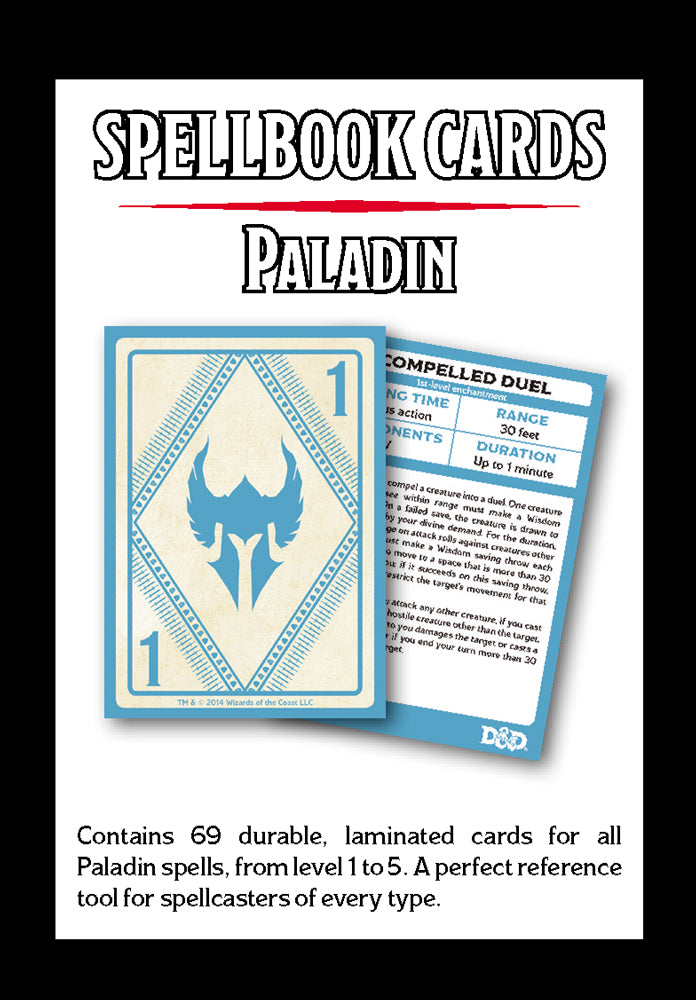 D&D Spellbook Cards Paladin Deck (69 Cards) Revised 2017 Edition  ||  D&D Card Decks