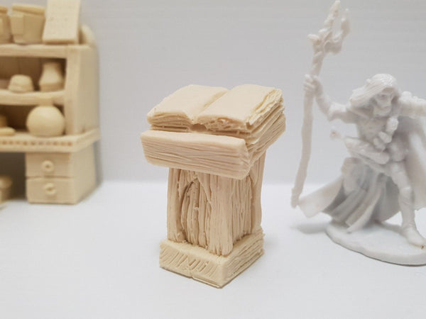 Custom Terrain: Wizard's Lectern Kit - Miniature next to lectern for size comparison