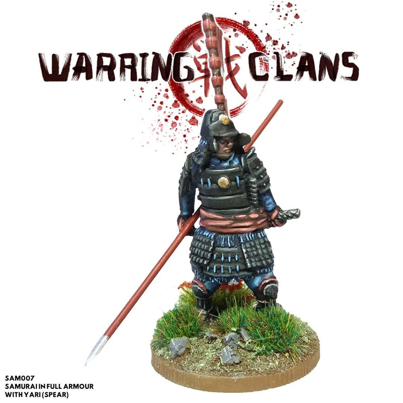 footsore metal mini - samurai full armour yari spear - dnd minis