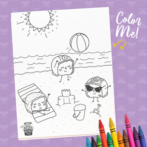At the Beach Coloring Sheet - FREE DOWNLOAD