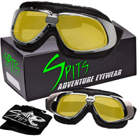 Bomber Retro Leather Aviator Goggles, Various Frame and Lens Color Options